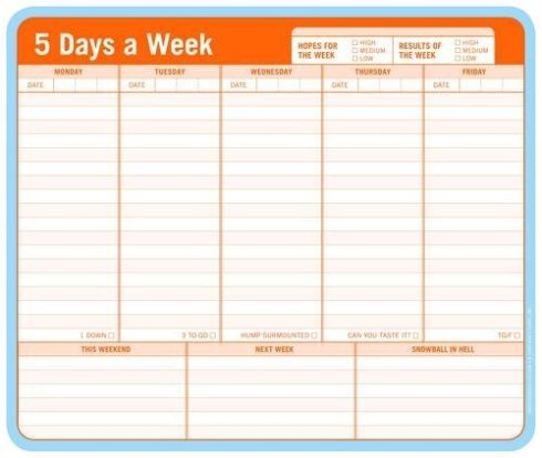 5 days a week mousepad notepad