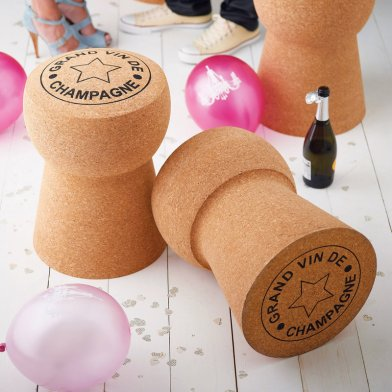 champagne cork shaped stool party setting