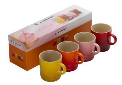 Cmas Jill Stoneware_espresso_mugs_bloom Le Creuset