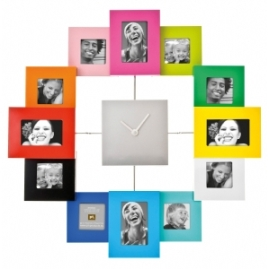Family time multicolour picture frame clock