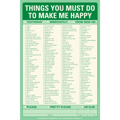 Things you must do to make me happy note pad by knock knock