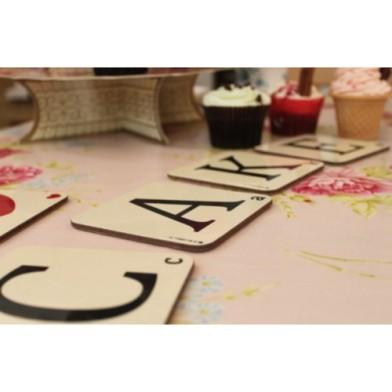 Alphabet coasters cake