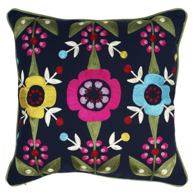 Dotcomgiftshop sale Midnight blue flower embroidered cushion £9.95 was £34.95