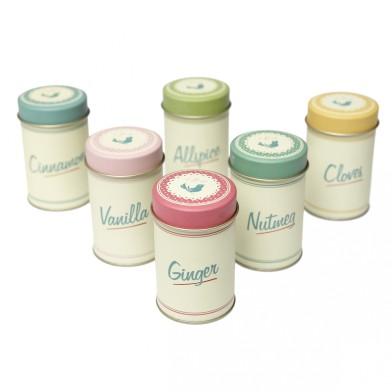 Dotcomgiftshop sale set of six vintage pantry design spice tins £3.95 was £9.95