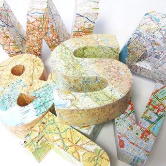 etsy map 3D letter