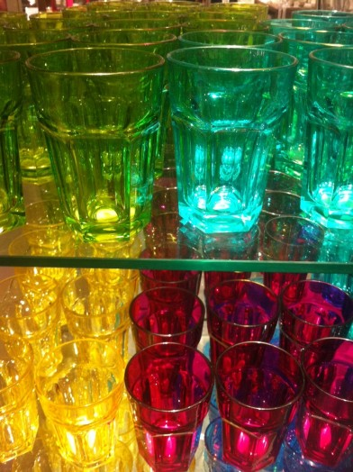 JL multicoloured soda glasses