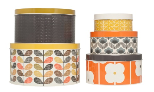 Orla Kiely cake tins in two piles
