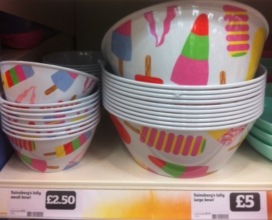 Sainsbury's picnic ware ice lollies bowls