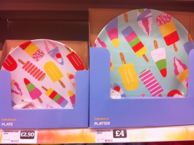 Sainsbury's picnic ware ice lollies platter and plates