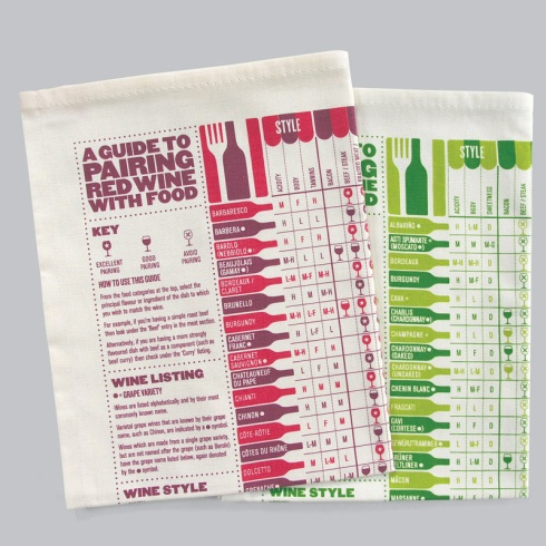 Stuart Gardiner tea towels - pairing red and white wine with food