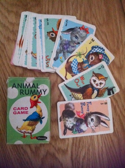 Vintage playing cards animal rummy