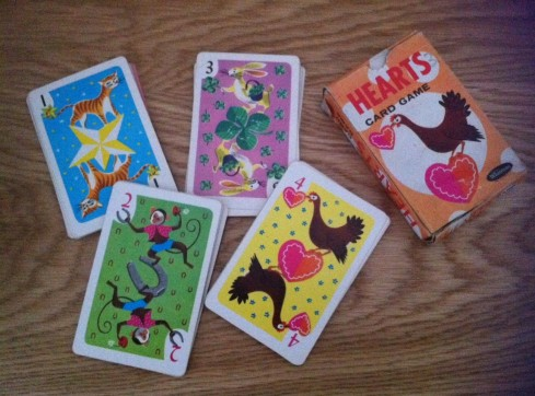 Vintage playing cards hearts