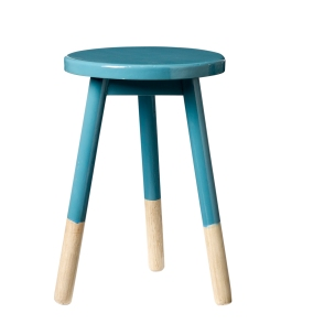 Di[[ed wooden stool in petrol £75 Rose and Grey