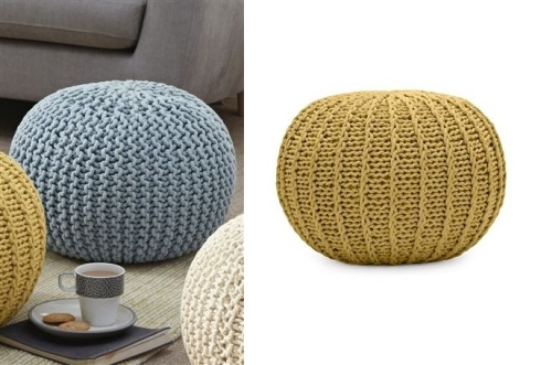 Next small knitted blue pod pouffe lifestyle shot £75