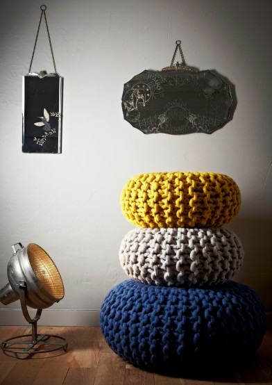 POUF LIFESTYLE SHOT handknitted Urchin poufs £470-£795 www.hollys-house.com