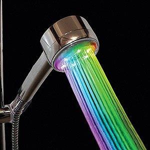 Rainbow shower head in the dark