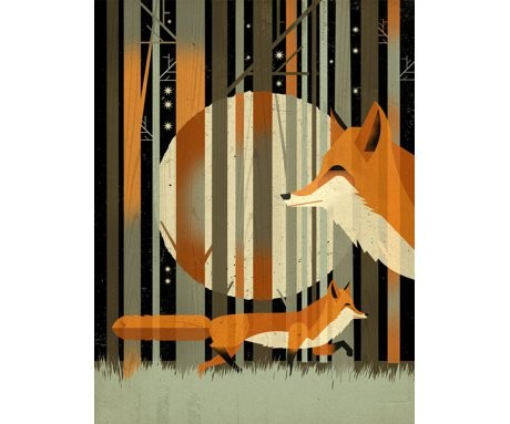 midnight fox giclee print culturelabel.com £30