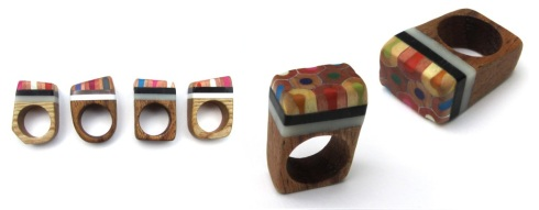 Oh Bother Designs chunky wood pencil rings £20 in a row
