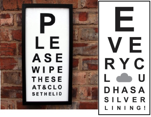 Oh Bother Designs eye test card on brick wall £17