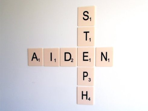 Oh Bother Designs large Scrabble wall tiles £4 each two names
