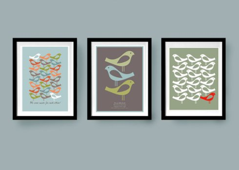 Visual Philosophy on Etsy set of three bird prints