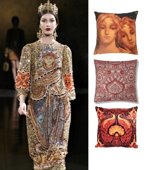 D&G high church. Angel sisters £17 Very.co.uk. Oxford damask jacquard cushion £19.50 M&S. Peacock princess £20 Littlewoods.com