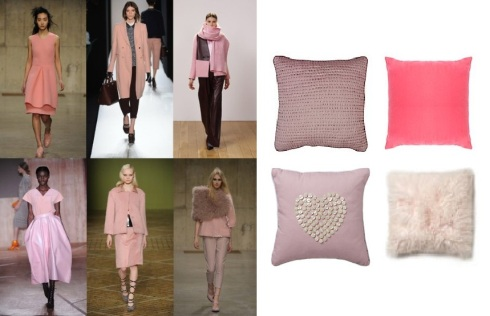 Pink trend. bella quilted £10 B&Q. pink cotton square £5.95 Debenhams. pink heart button £10 sainsburys. pink mongolian fur £35 BHS.
