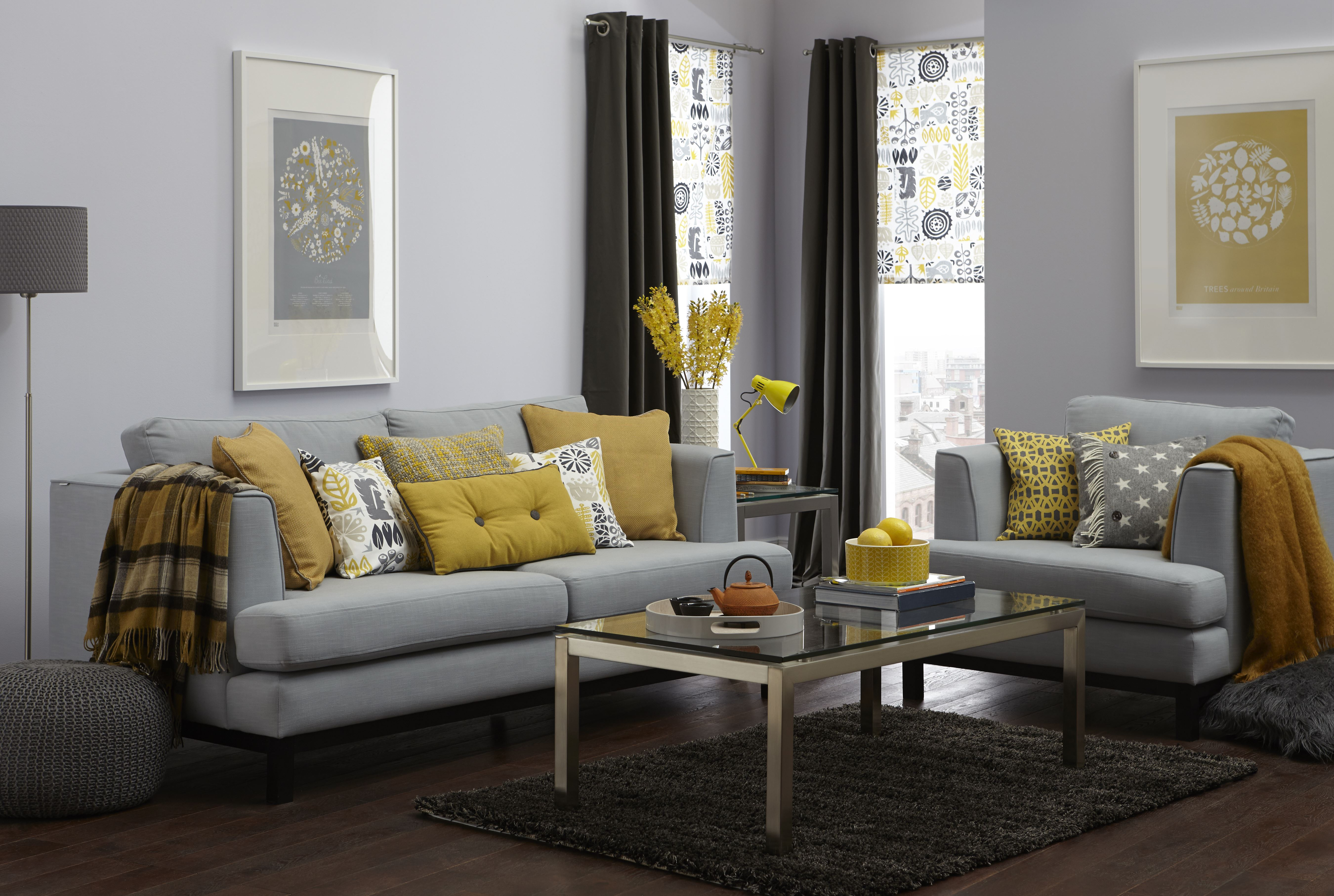 Yellow and Grey Living Room Curtains 5400 x 3627