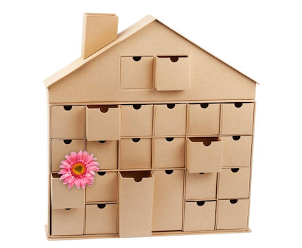 cardboard storage house advent