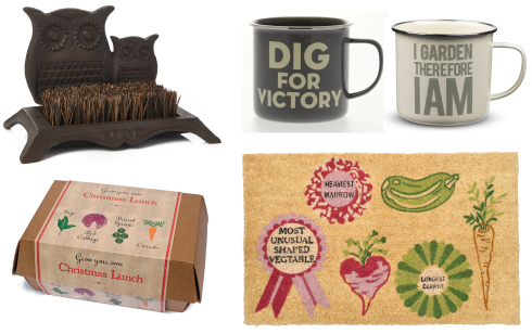 Garden gifts boot brush doormat lunch mugs