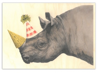 party rhino wooden poster graham and green