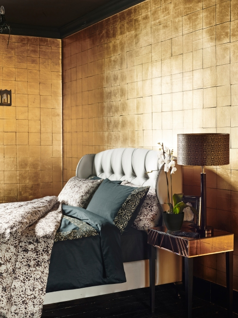 PRECIOUS METALS LIFESTYLE SHOT bedstead, side table and all accessories Biba at House of Fraser 1
