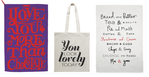 Valentines tea towels and tote bag