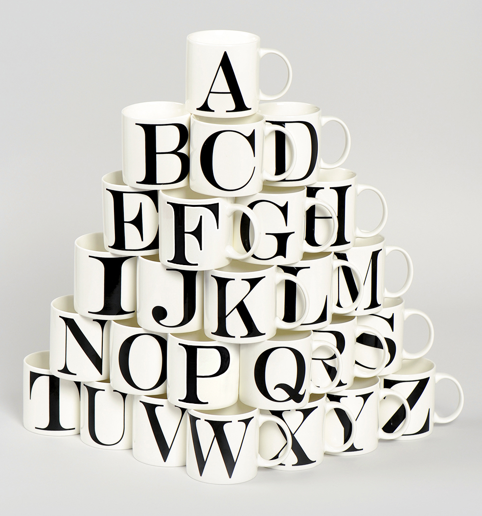 alphabet letter mugs 2 each matalan