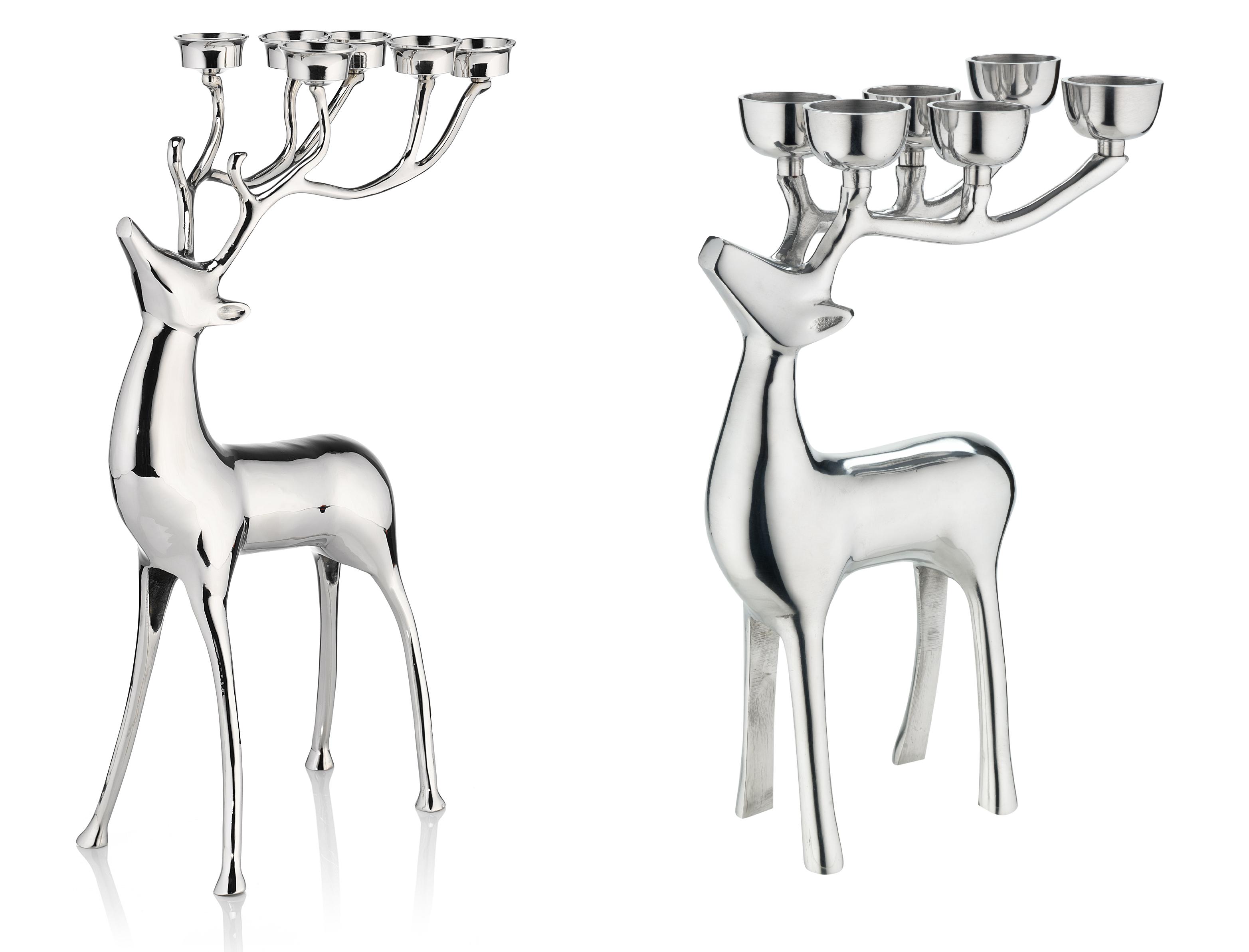 Silver Reindeer Candle Holder