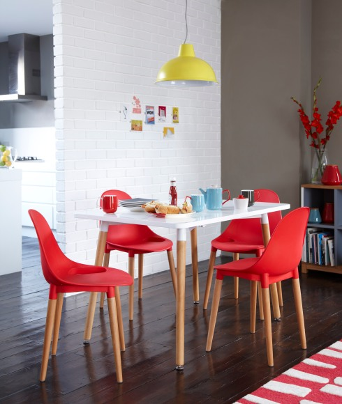 Tesco Direct Palermo Dining Table £149, Palermo Stacking Chair £49, Thorpness Large Metal Electric Pendant £29