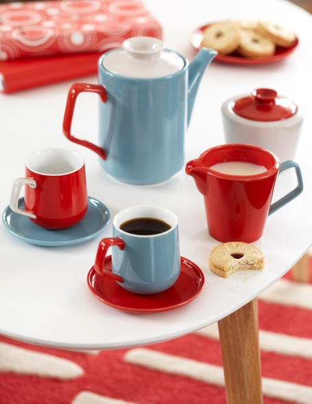 Tesco Miami Coffee Table £79, Espresso Mugs and Saucers £12, Retro Teapot £10, Retro Milk Jug £4, Retro Sugar Pot £4