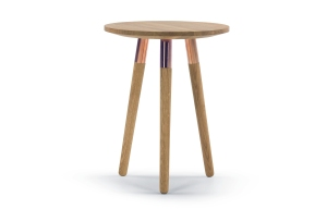 Oak and Copper Range Side Table Oak Copper £149 Made.com