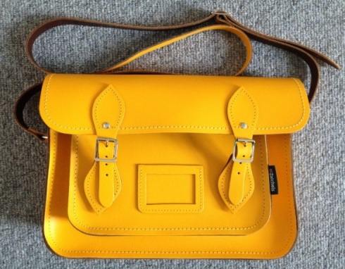 yellow leather zatchels satchel