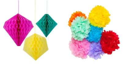 Fiesta Geometric Honeycomb Decorations £8.50 for a set of three mixed colours Candleandcake.co.uk