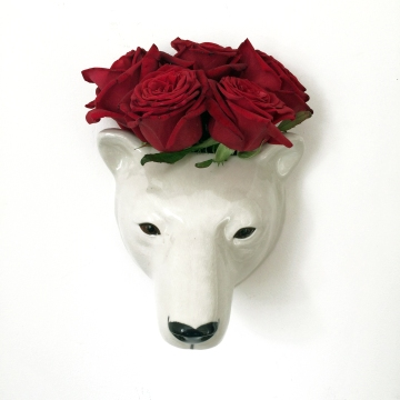 Polar Bear Wall Vase  £27.99 OakRoomShop.co.uk  (with roses)