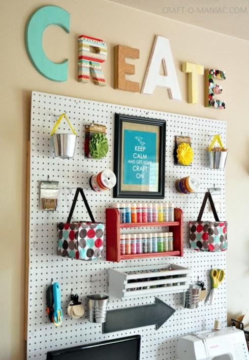 Craft room pegboard (pic by craft-o-maniac.com)