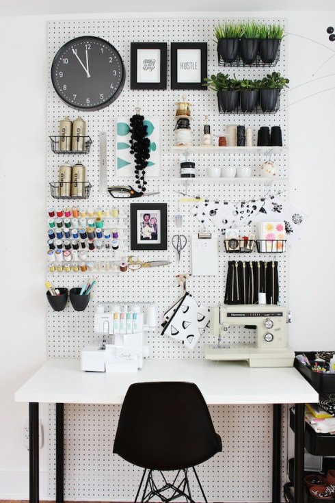 Monochrome pegboard (pic by fabricpaperglue.com)