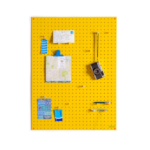 Yellow pegboard £25 (mini) to £65 (large) Blockdesign.co.uk