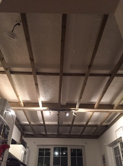 The wooden ceiling frame