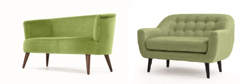 two green retro sofas